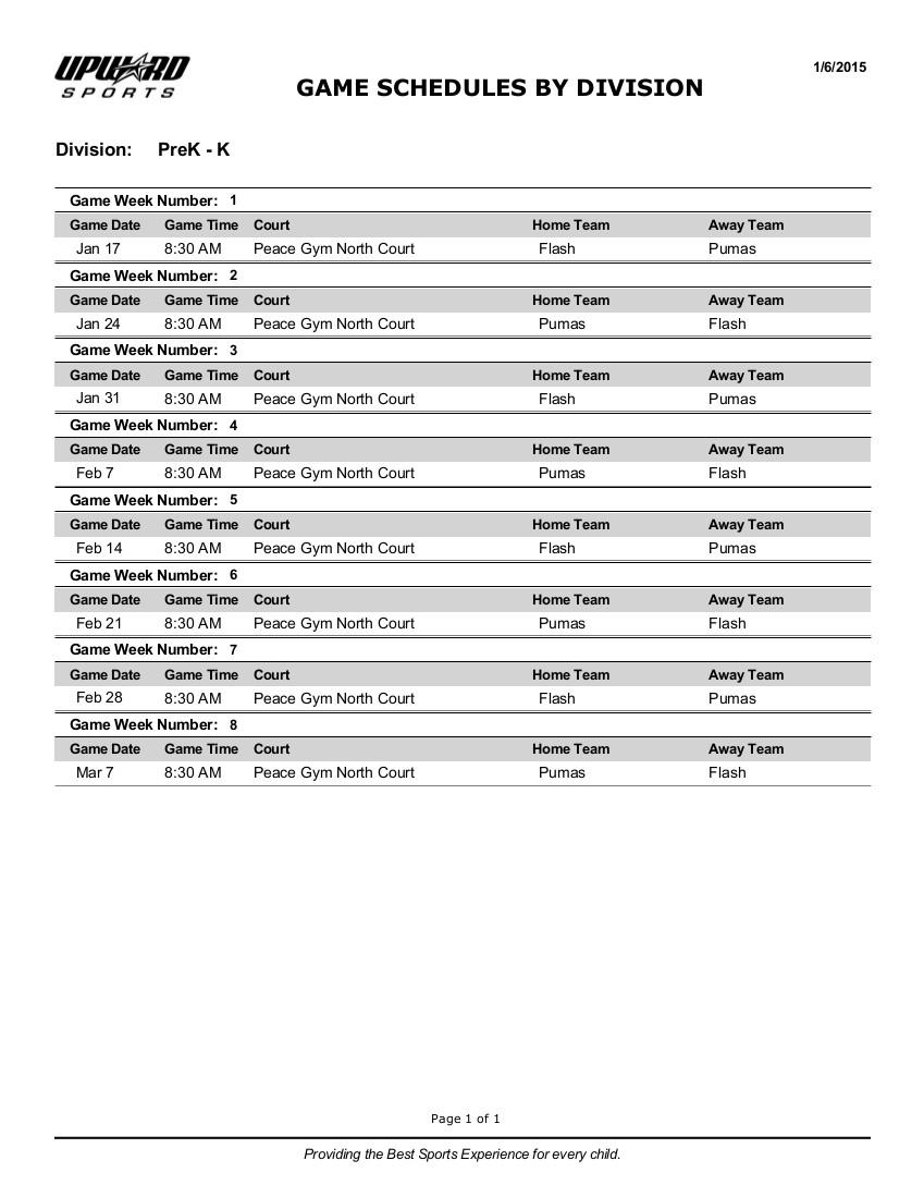 2015 Upward PreK & K Game Schedule