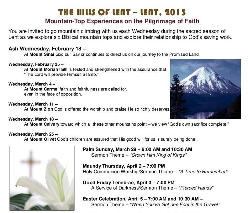 2015 Lenten Schedule