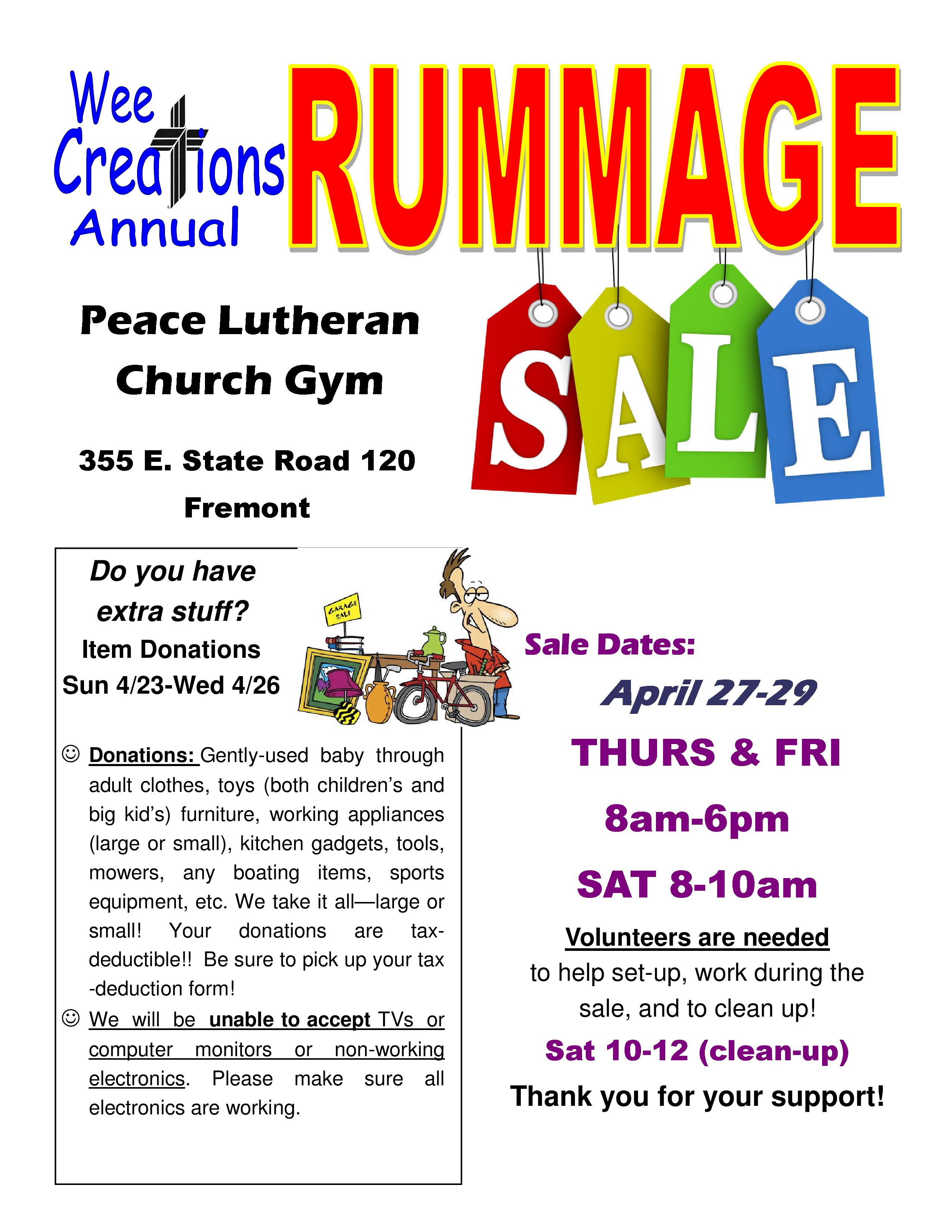 Wee Creations Rummage Sale - Peace Lutheran Church - Fremont, IN